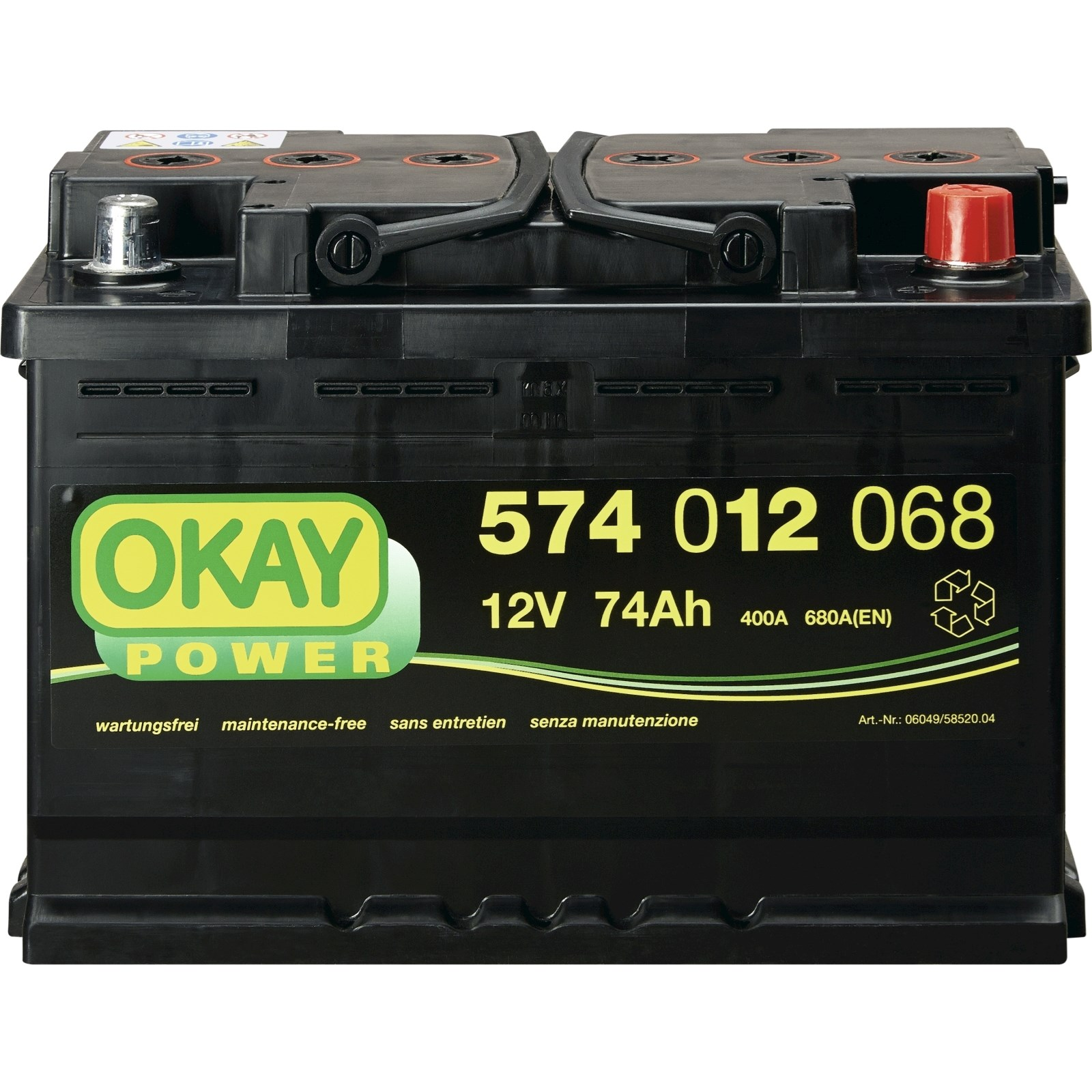 starterbatterie okay 74ah 680a auto zubeh r landi. Black Bedroom Furniture Sets. Home Design Ideas