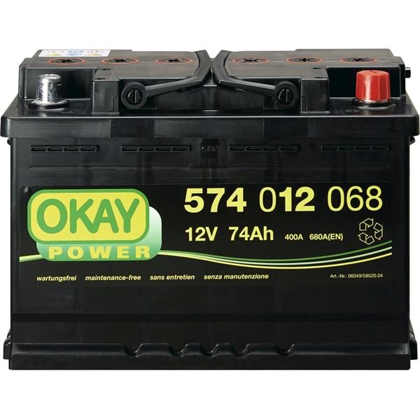 batterie voit okay 74ah 680a accessoires voitures landi. Black Bedroom Furniture Sets. Home Design Ideas