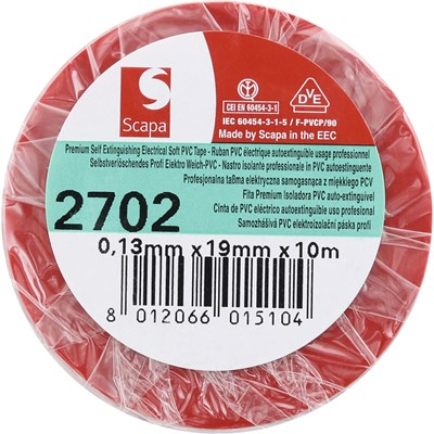 Bande adh. PVC rouge 19 mm